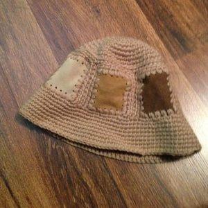90s Liz Claiborne Suede/ Knit Hat