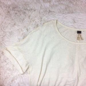 Free People Tops - FREE PEOPLE casual cream asymmetrical short sleeve