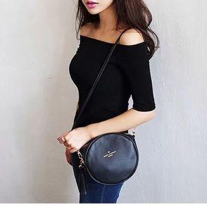 Tops - Boutique-Black off shoulder Tshirt