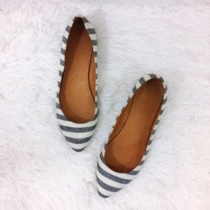 MADEWELL blue+cream porch stripe skimmer flats