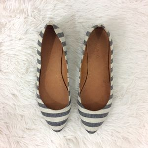 Madewell Shoes - MADEWELL blue+cream porch stripe skimmer flats
