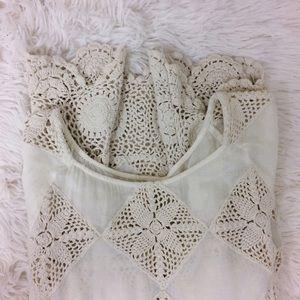 Free People Tops - FREE PEOPLE cream diamond crochet 3/4 sleeve tunic