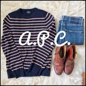A.P.C. Striped Crewneck Sweater - Small