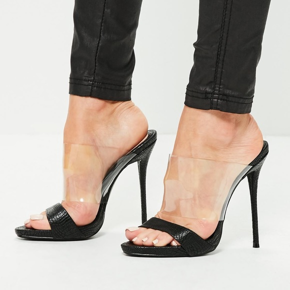 Missguided Shoes Black Perspex And Snake Vamp High Heel Mule