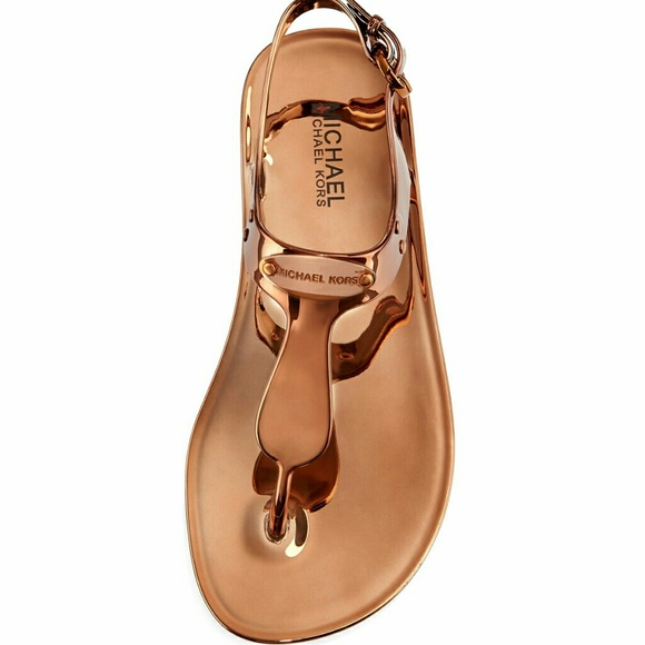 1e4a3e86449e Michael Kors Copper Rose Gold Jelly Sandals 9 10
