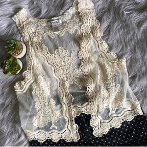 Pinky Jackets & Blazers - Pinky Cream Lace Vest