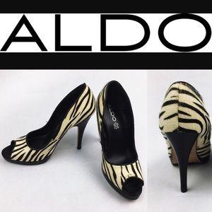 Aldo Shoes - ALDO ZEBRA PEEP PUMPS SZ 37