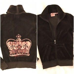 Juicy Couture Sweaters - Juicy Couture Women's Brown Queen Of Stuff Zip Up