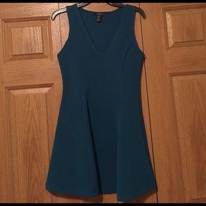 NWOT Forever 21 Dark Teal Skater Dress, Sz M.