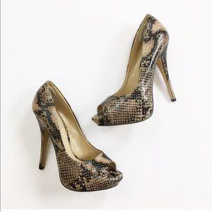 Aldo Leather Snake Print Peep Toe Heels