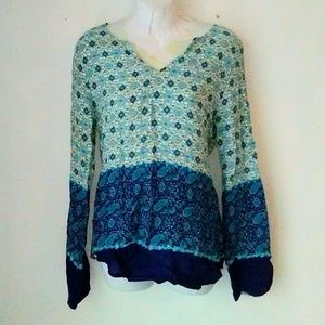 Luxe Essentials Apparel Tops - Luxe Blue Ikat Print Tunic