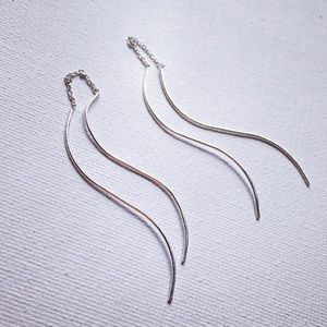 Sterling Silver Wave Threader Earrings