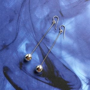 Boutique Jewelry - Shiny Sterling Silver Ball Dangle Earrings