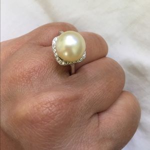 Jewelry - Rhodium ring champagne south sea pearl