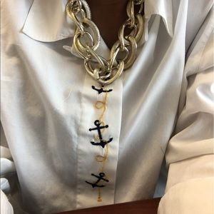 Tops - White shirt with unique marine embroidery