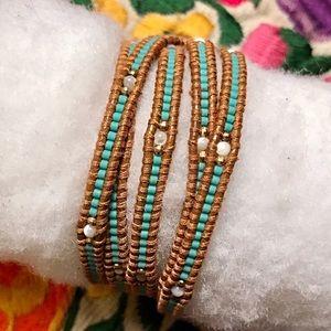 Chan Luu Jewelry - Turquoise beaded Chan Luu wrap bracelet