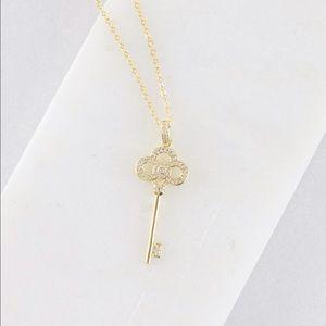 Jewelry - Large Dainty Rhinestone Key - Gold