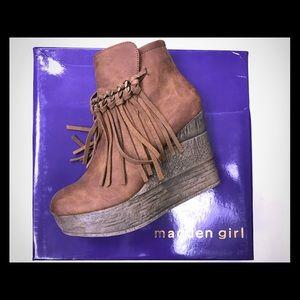 "Madden Girl Shoes - ""Madden Girl"" fringe wedge booties"
