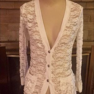 Sweaters - Cream lace cardigan