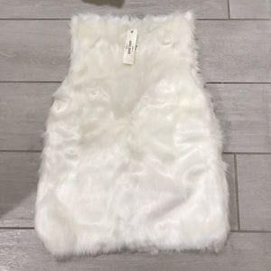 Jackets & Coats - White faux fur vest
