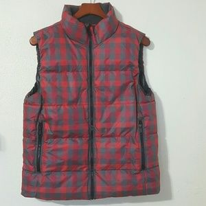 GAP Jackets & Blazers - Gap Red and Grey Plaid Winter Puffer Vest L Tall