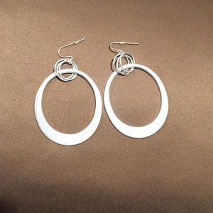 Giant brushed silver hoop like earrings