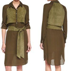 Haute Hippie Dresses & Skirts - Haute Hippie Military Silk & Suede Dress