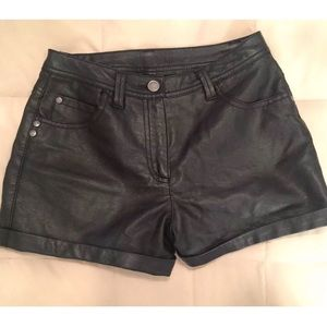 Material Girl Pants - MATERIAL GIRL Faux Leather 5 Pocket Shorts Lined