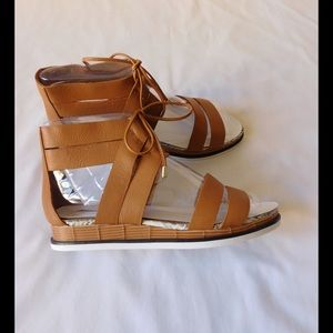 Calvin Klein Collection Shoes - Leather! Majestic Tan Platform Sandals W/Ties