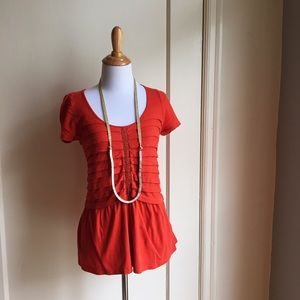 Red Anthropologie Short Sleeve Top with Pleating
