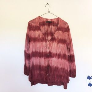 Gypsy 05 Tops - Gypsy05 Ra Sateen Tie Dye Button Down Blouse