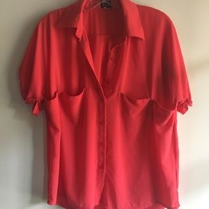 Very J Tops - Coral button down blouse