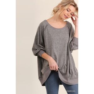 Oversized Boat Neck Top-CHARCOAL