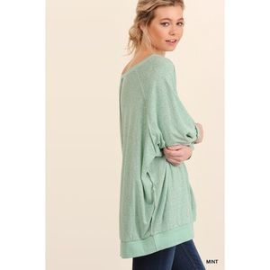 Oversized Boat Neck Top-MINT