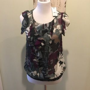 NWT Express Sleeveless Sheer Blouse With Ruffles