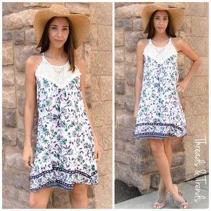 Threads & Trends Dresses & Skirts - Floral Crochet Halter Dress