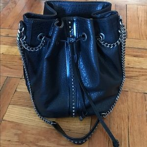 Zara Black Faux Leather Studded Bag