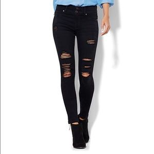 New York & Company Denim - Distressed black high waisted jeans