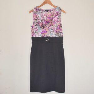 Tahari Dresses & Skirts - Tahari Purple Floral Career Grey 6 Two-Tone Dress