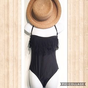 Boston Proper Other - Boston Proper Black Fringe One Piece Swimsuit
