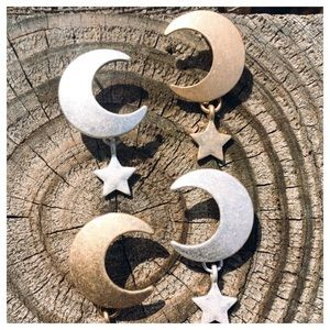 Crescent Moon Star Gold Silver Oxidized Earrings