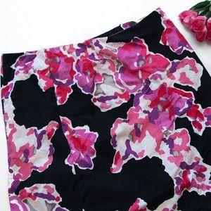 NIC + ZOE Dresses & Skirts - NIC+ZOE Pink Black Watercolor Skirt Ruffle Back