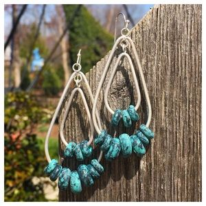 Silver and Turquoise Oxidized Double Drop Earrings