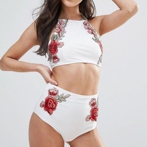 ASOS Other - New ASOS Embroidered Rose High Waisted Bikini Set