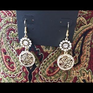 Curvy Couture Jewelry - Crystal Boho Earrings Chandelier 14K Gold NWT