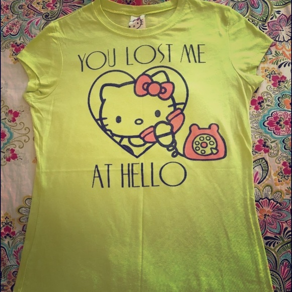 6ac70a1fa Sanrio Tops | Hello Kitty Heart Shirt Juniors Xl Neon | Poshmark