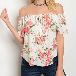 Tops - New Ivory Floral Off Shoulder Top
