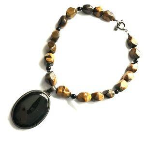 Onyx & tiger eye choker necklace