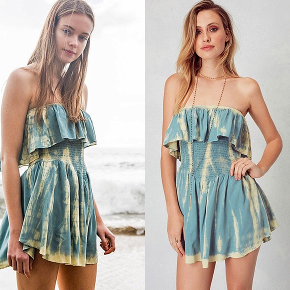Dresses & Skirts - Tie Dye Teal Mini Dress (built in Short)