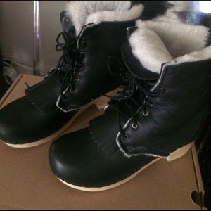 No. 6 Shoes - Black Shearling Kiltie Clog Boots 39